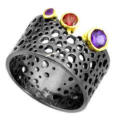 Natural purple amethyst garnet rhodium 925 silver two tone ring size 6.5 p23820