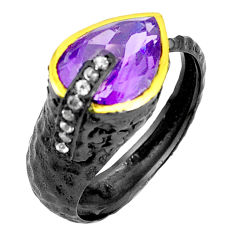 Natural purple amethyst rhodium silver two tone adjustable ring size 8.5 p23829