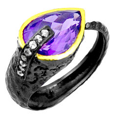 Natural purple amethyst rhodium silver two tone adjustable ring size 9 p23837