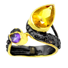 Natural yellow citrine amethyst rhodium 925 silver two tone ring size 7.5 p23842