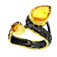 925 silver 5.97cts natural yellow citrine rhodium two tone ring size 7 p23844