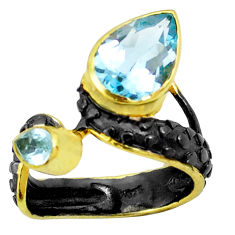 6.54cts natural blue topaz 925 silver two tone rhodium ring size 8 p23850