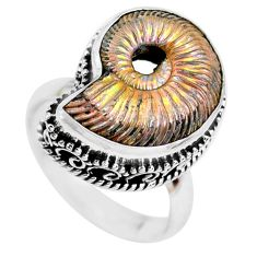11.05cts natural russian jurassic opal ammonite 925 silver ring size 8 p24108