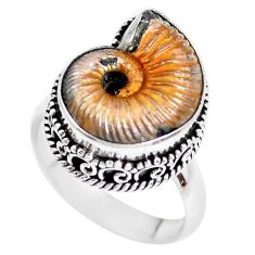 925 silver 11.83cts natural russian jurassic opal ammonite ring size 8.5 p24110