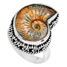 12.17cts natural russian jurassic opal ammonite 925 silver ring size 7 p24120