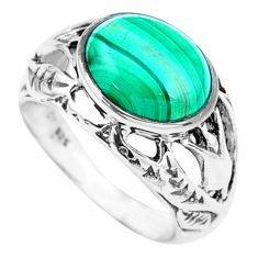 5.12cts natural green malachite 925 silver solitaire ring size 6.5 p24861