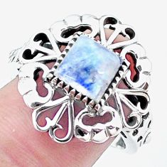 2.36cts natural rainbow moonstone 925 silver solitaire ring size 8.5 p24879