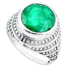 5.95cts natural green emerald 925 silver solitaire ring jewelry size 7.5 p24887