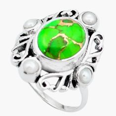6.31cts green copper turquoise pearl 925 silver solitaire ring size 8 p24905