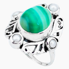6.58cts natural green botswana agate pearl silver solitaire ring size 7 p24908