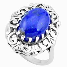 7.07cts natural blue lapis lazuli 925 silver solitaire ring size 9 p24921