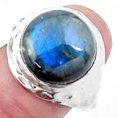 7.66cts natural blue labradorite 925 silver solitaire ring size 7.5 p24971