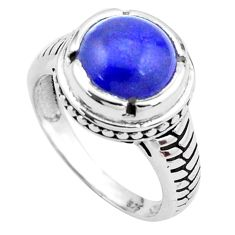 5.34cts natural blue lapis lazuli 925 silver solitaire ring size 7.5 p25023