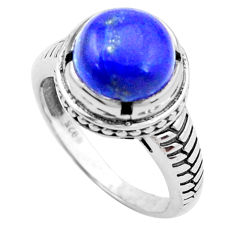 925 silver 5.75cts natural blue lapis lazuli solitaire ring size 8.5 p25024