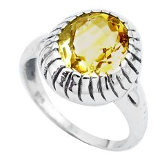 5.07cts natural yellow citrine 925 silver solitaire ring jewelry size 8.5 p25054