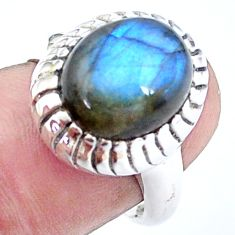 5.52cts natural blue labradorite 925 silver solitaire ring jewelry size 7 p25056