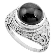 925 sterling silver 5.52cts natural black star solitaire ring size 7.5 p25109