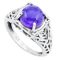 4.82cts natural purple amethyst 925 silver solitaire ring jewelry size 7 p25123