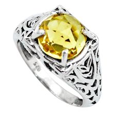 925 silver 4.68cts natural yellow citrine solitaire ring jewelry size 7 p25124