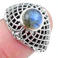 925 silver 2.33cts natural blue labradorite solitaire ring jewelry size 7 p25135