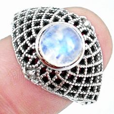 925 silver 2.23cts natural rainbow moonstone solitaire ring size 8 p25139