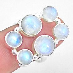 11.01cts natural rainbow moonstone 925 sterling silver ring size 8.5 p25801