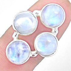 925 silver 14.21cts natural rainbow moonstone round shape ring size 7.5 p25805