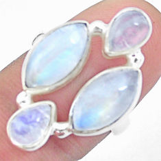 11.89cts natural rainbow moonstone 925 sterling silver ring size 6.5 p25817