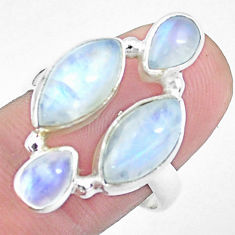 13.34cts natural rainbow moonstone 925 sterling silver ring size 8.5 p25818