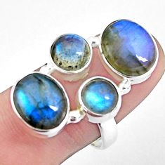13.05cts natural blue labradorite 925 sterling silver ring jewelry size 8 p25824
