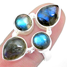 925 sterling silver 10.89cts natural blue labradorite pear ring size 7.5 p25826