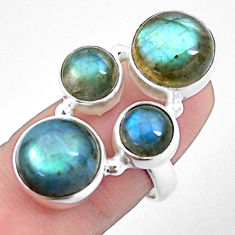 13.63cts natural blue labradorite 925 sterling silver ring jewelry size 7 p25828