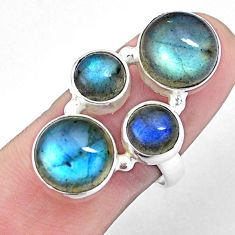 925 sterling silver 13.41cts natural blue labradorite ring jewelry size 8 p25840