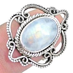 5.51cts natural rainbow moonstone 925 silver solitaire ring size 7 p25853