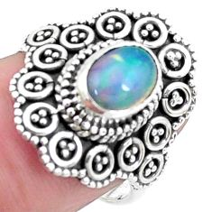 2.10cts natural multicolor ethiopian opal silver solitaire ring size 7 p25862