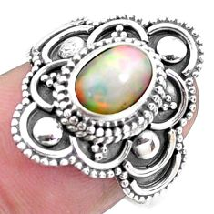 925 silver 2.20cts natural ethiopian opal solitaire ring jewelry size 7.5 p25864
