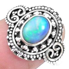 2.01cts natural ethiopian opal 925 silver solitaire ring size 8.5 p25865