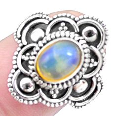 2.00cts natural ethiopian opal 925 silver solitaire ring jewelry size 7.5 p25871