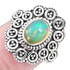 2.01cts natural ethiopian opal 925 silver solitaire ring size 7.5 p25873