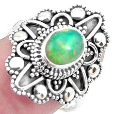 1.78cts natural ethiopian opal 925 sterling silver solitaire ring size 8 p25891