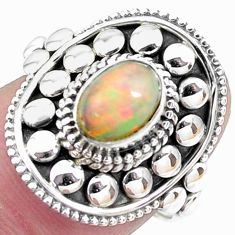 Natural multi color ethiopian opal 925 silver ring solitaire size 7.5 p25894