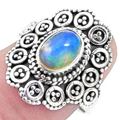 1.91cts natural ethiopian opal 925 sterling silver solitaire ring size 7 p25896