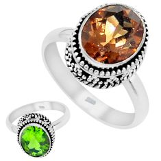 5.29cts green alexandrite (lab) 925 silver solitaire ring jewelry size 8 p25908