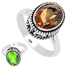 5.53cts green alexandrite (lab) 925 silver solitaire ring size 7.5 p25911