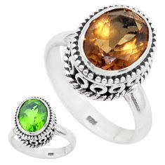5.52cts green alexandrite (lab) 925 silver solitaire ring size 7.5 p25920
