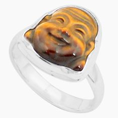 6.36cts natural brown tiger's eye 925 silver buddha solitaire ring size 8 p25926