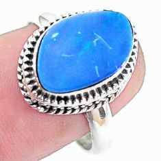 Natural blue doublet opal australian 925 silver solitaire ring size 7.5 p26042