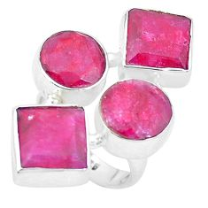 925 sterling silver 15.15cts natural red ruby square ring jewelry size 6 p26083