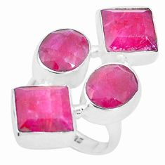 925 sterling silver 15.82cts natural red ruby square ring jewelry size 7 p26086