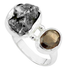 925 silver 13.84cts natural campo del cielo smoky topaz ring size 7 p26095